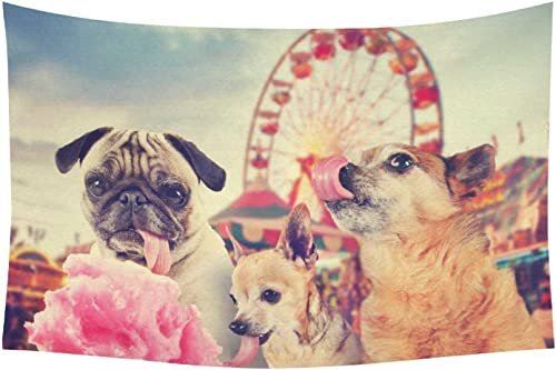 INTERESTPRINT Cute Aniamal Wall Art Home Decor, Three Funny Dogs Tapestry Wall Hanging Art Sets 90 X 60 Inches