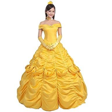 Amazon.com  Ainiel Women s Cosplay Costume Princess Dress Yellow ... f06ff2aeb