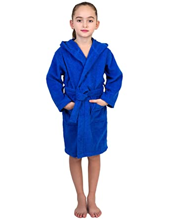 little girls robe kids hooded cotton terry bathrobe coverup size 4 blue - Terry Cloth Robe
