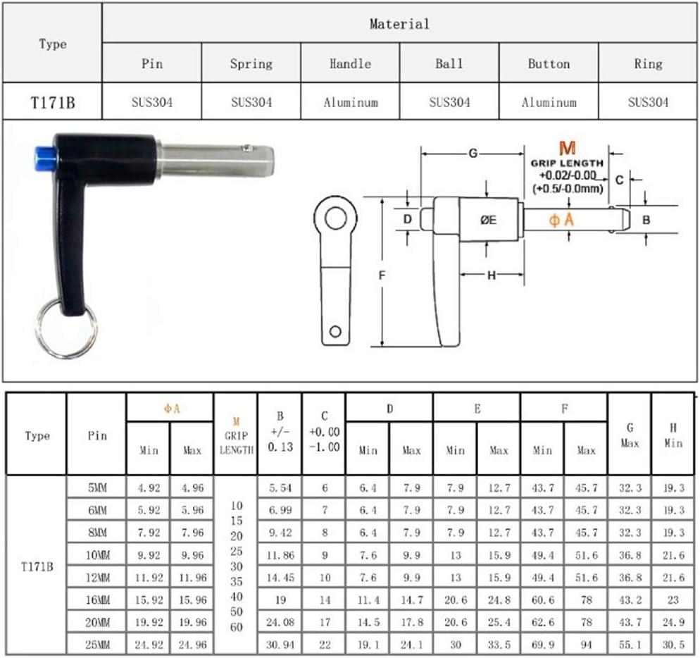 Shiwaki Goupille de D/éverrouillage Rapide en Acier Inoxydable Durable R/ésistance /à Corrosion Dia 8mm 15mm
