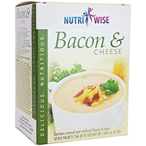 NutriWise - Bacon & Cheese Protein Soup   7/Box   Healthy Nutritious Diet Soup   Meal Replacement   Hunger Control   Low Fat - Low Sugar - 100 Calorie - Low Car