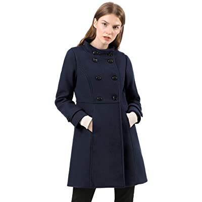 Allegra K Women's Stand Collar Double Breasted Slant Pockets Trendy Outwear Winter Coat: Clothing