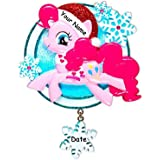 Personalized Officially Licensed My Little Pony Character Pinkie Pie in Glittered Santa Hat with Winter Scarf
