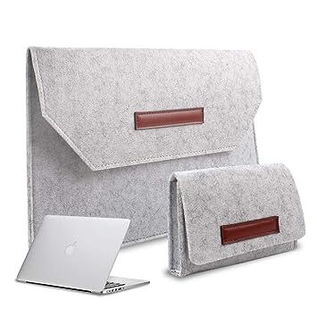 3c429d3b8a36 Felt Laptop Sleeve Ultra Slim Notebook Case for MacBook Air/Pro Retina,  Ultrabook, 12-15.4 Inch Laptops/Notebooks(12 inch, Light Gray)