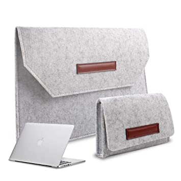2706a21f676f Felt Laptop Sleeve Ultra Slim Notebook Case for MacBook Air/Pro Retina,  Ultrabook, 12-15.4 Inch Laptops/Notebooks(12 inch, Light Gray)