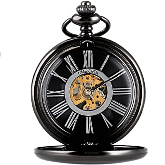 3447ea8dd5c87 Image Unavailable. Image not available for. Color  ManChDa Classic  Mechanical Smooth Double Black Case Roman Numberals Pocket Watch ...