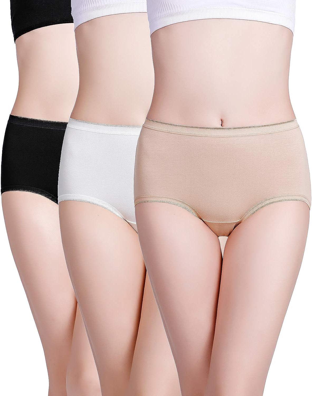 wirarpa Womens Underwear Cotton Stretch Briefs Ladies High Waisted Panties Multipack