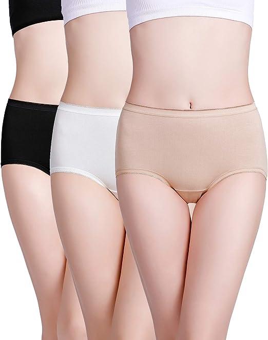 wirarpa Mujer Bragas de Algodón Braguita Cintura Alta Calzoncillos para Mujer Pack de 3 Talla 46-48: Amazon.es: Ropa y accesorios