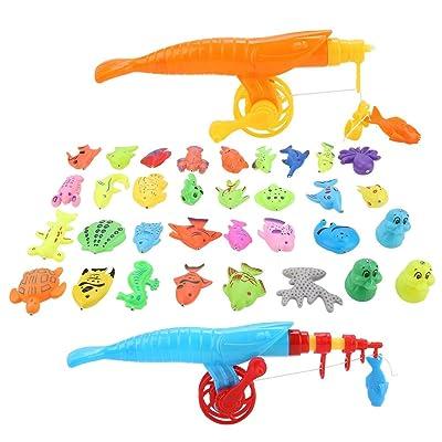 39pcs / set Juego de juguetes de pesca magnética Juego de baño para bebés, Bañera a prueba de agua Piscina flotante Juego de juego Juego de baño Aprendizaje de juguetes educativos Juego de pesca: Juguetes y juegos