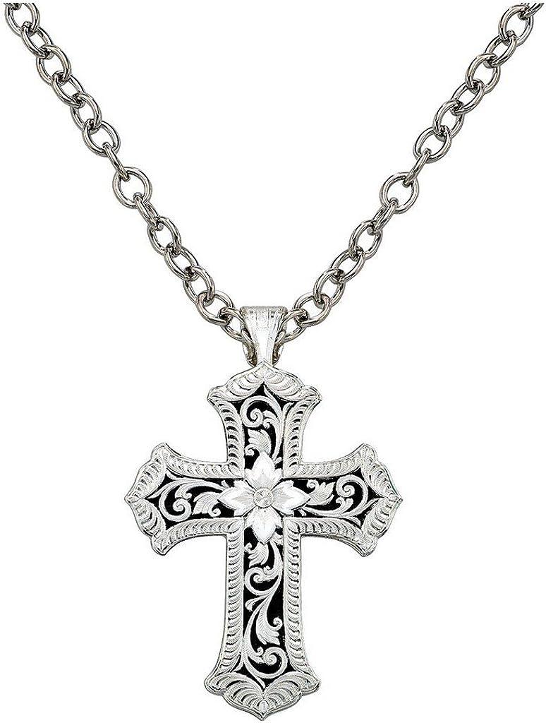 Montana Super intense SALE Silversmiths Women's Antiqued Arlington Mall Necklace Cross S Scalloped