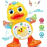 Dancing Duck Toy with Multicolor Flashing Lights Wink Open Mouth, Real Dance Action