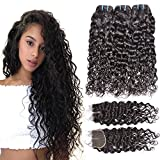 Iwish 3 Bundles Brazilian Hair Water Wave Real Human Hair Bundles Deals Brazilian Virgin Hair Wet and Wavy Weave Extensions (18 20 22+16CL, natural black)