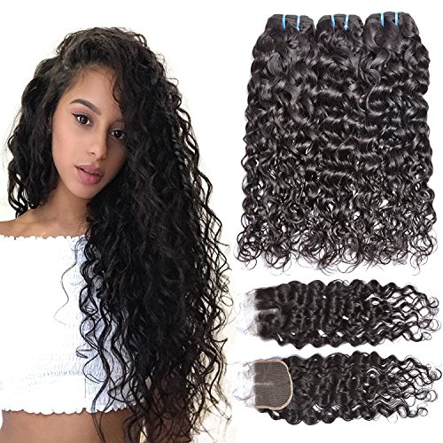 Iwish 3 Bundles Brazilian Hair Water Wave Real Human Hair Bundles Deals Brazilian Virgin Hair Wet and Wavy Weave Extensions (18 20 22+16CL, natural black) by Iwish Hair