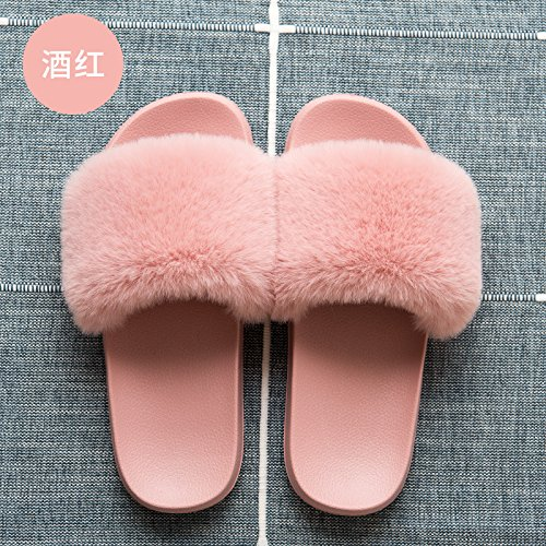 long 40 couples slippers color solid slip slippers Slippers girls thick soft wine cool lovely 39 anti red stay fankou summer CwTnZqxA