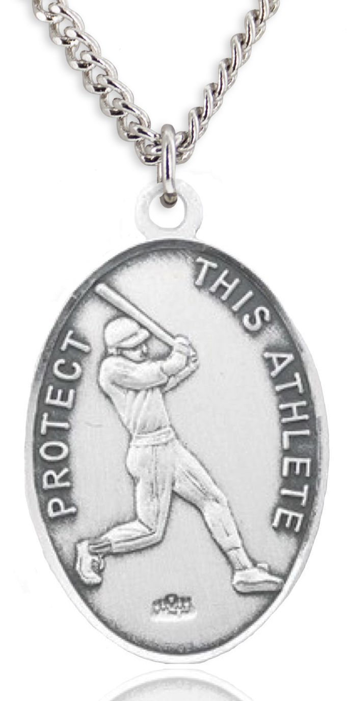 Men's Sterling Silver Oval Saint Christopher Baseball Medal + 24 Inch Sterling Silver Chain & Clasp