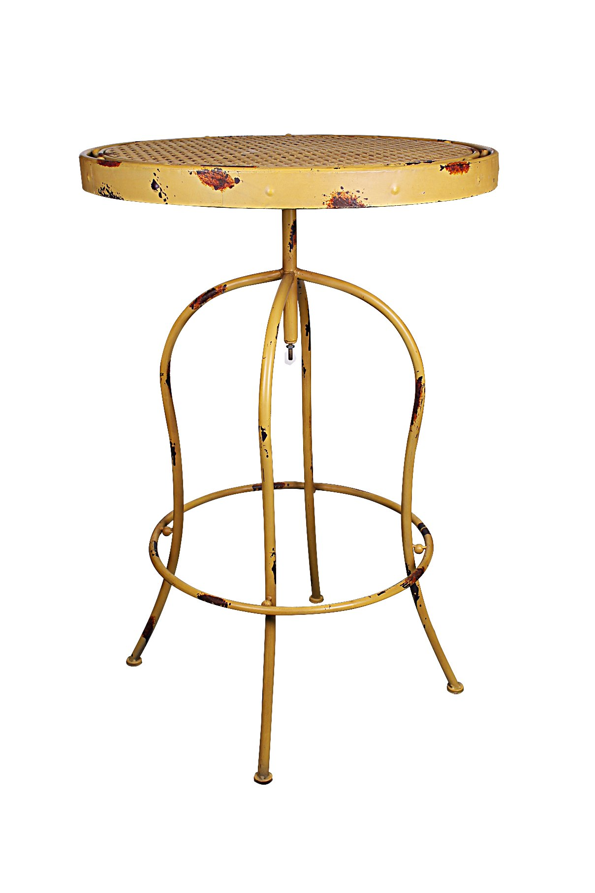 Attraction Design Nostalgia French Bistro Table, Yellow - YELLOW color; ANTIQUE TURNABLE, Handy Paint ROUND; Vintage Style - patio-tables, patio-furniture, patio - 61Kz eQwjUL -