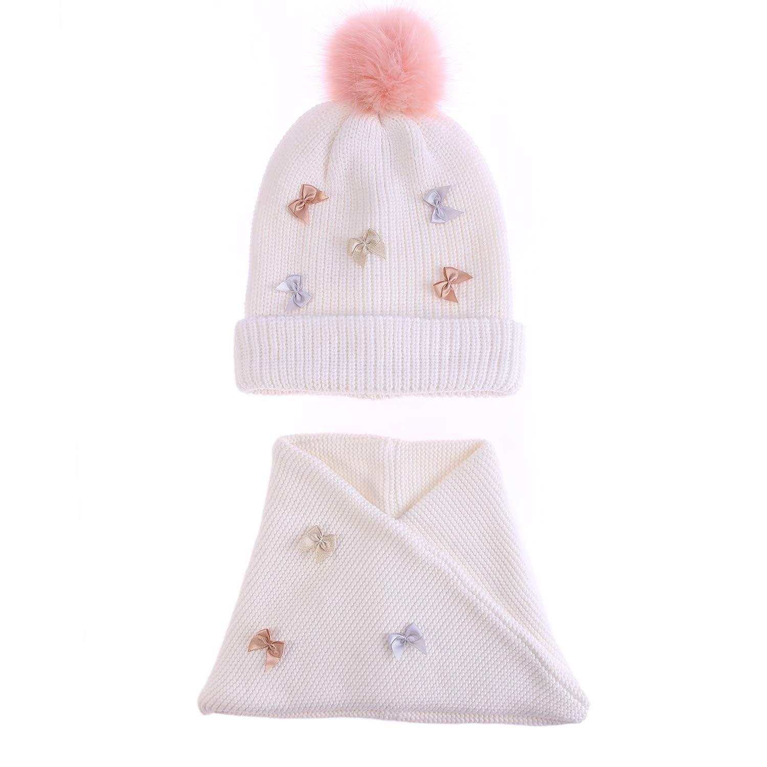 Girl/'s Cable Knit Hat Scarf Set Stylish Bowknot Kids Infinity Scarves Children Pink Fur Pom Beanie Hats