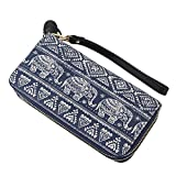 Women Elephant Wallet Canvas Zipper Purse Wristlets Clutch Phone Card Holder Handbag (One size, Blue)