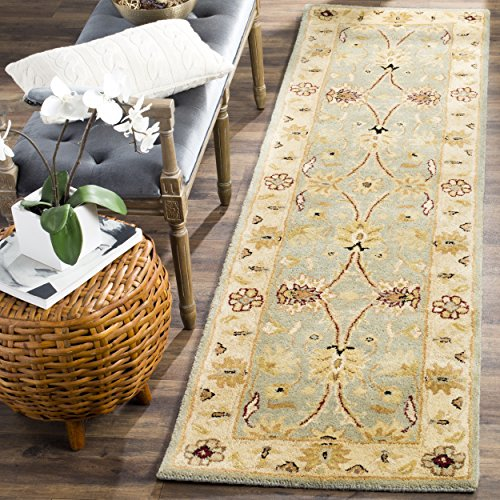 Safavieh Antiquities Collection AT249A Handmade Traditional Oriental Light Blue and Ivory Wool Runner (2'3