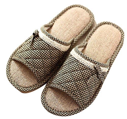 Blubi Donna Estate Pizzo Deco Biancheria Intima Casa Pantofole Pantofole Verde Scuro