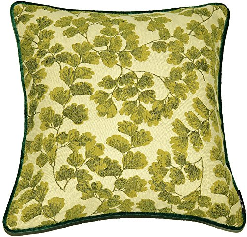McAlister Textiles Fern Tapestry | Woven Maidenhair Fern Pillow Cover | Green Embroidered 16x16 Throw Cushion Case | Textured Linen, Crewel Needlepoint Plant Leaf | Nature Botanical Accent Decor ()