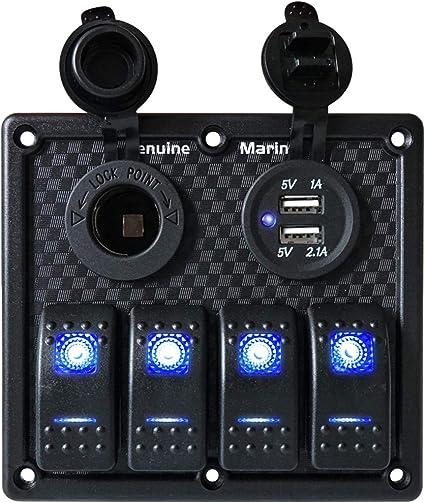 12V//24V Inline Fuse Box LED Rocker Switch Panel 2 USB Charger Socket Truck Boat