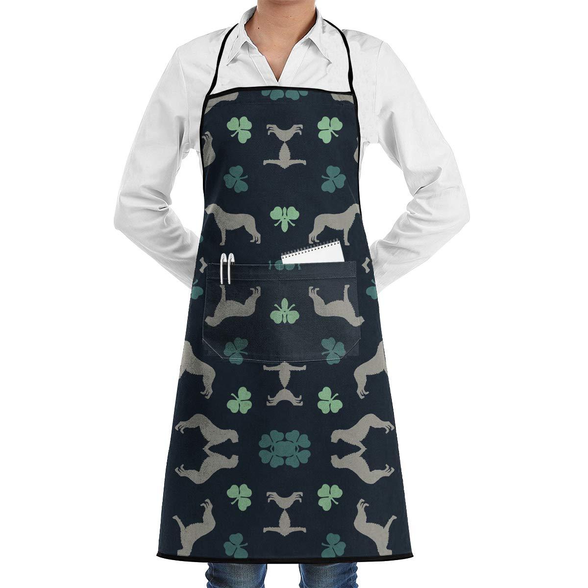 Irish Wolfhounds 調節可能なビブエプロン ポケット付き クッキングキッチンエプロン 料理/ベーキング/キッチン/レストラン/クラフトに   B07HY28Z78