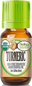 Organic Turmeric Essential Oil (100% Pure - USDA Certified Organic) Best Therapeutic Grade Essential Oil - 10ml
