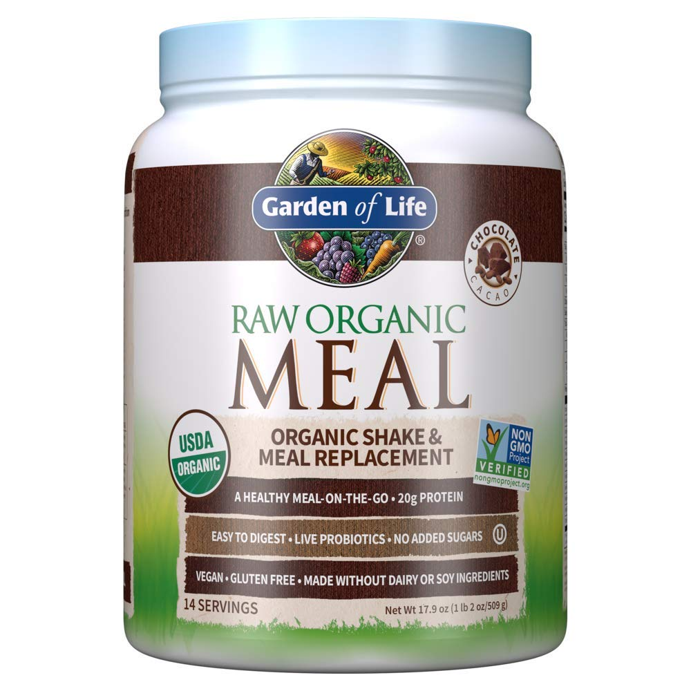 Garden of Life Meal Replacement Powder, 14 Servings, Organic Raw Plant Based Protein Powder, Vegan, Gluten-Free - Packaging May Vary, Chocolate, 14 Servings (Pack of 1), 17.9 Ounce