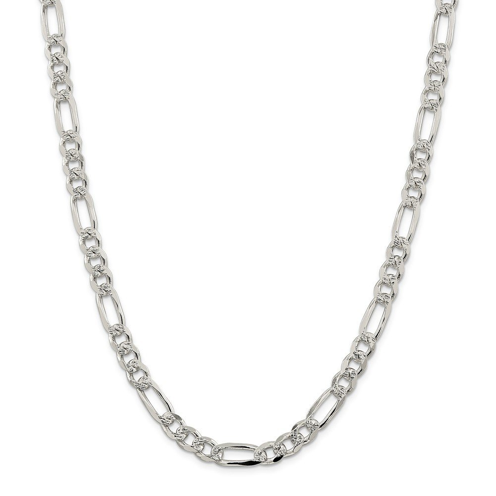 Sterling Silver 8mm Pave Flat Figaro Chain Necklace or Bracelet QFF220 by Lex and Lu