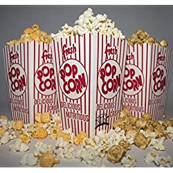 Diner's Choice Gourmet Concession Popcorn Boxes   Perfect for Family Movie Night, Theaters, Festivals, and Party Favors   Red and White Striped Containers (20-Count)