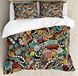 Doodle Twin Duvet Cover Sets 4 Piece Bedding Set Bedspread with 2 Pillow Sham, Flat Sheet for Adult/Kids/Teens, Cinema Items Combined in an Abstract Style Popcorn Movie Reel The End Theatre Masks