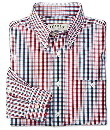 Orvis Men's Orvis Men's Pure Cotton Wrinkle-free Pinpoint Oxford Shirt, Red/White/Blue, Medium