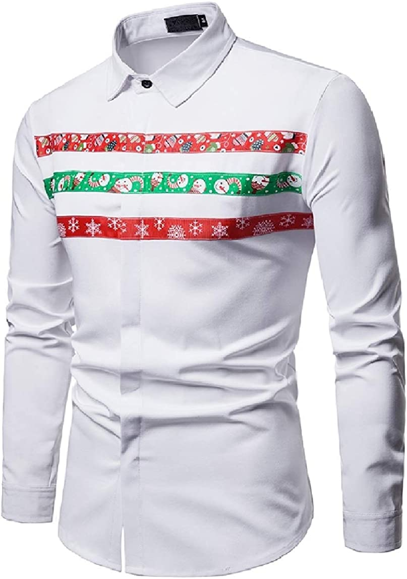 MirrliyMen Print Long Sleeve Christmas Theme Trim-Fit Peaked Collar Shirt
