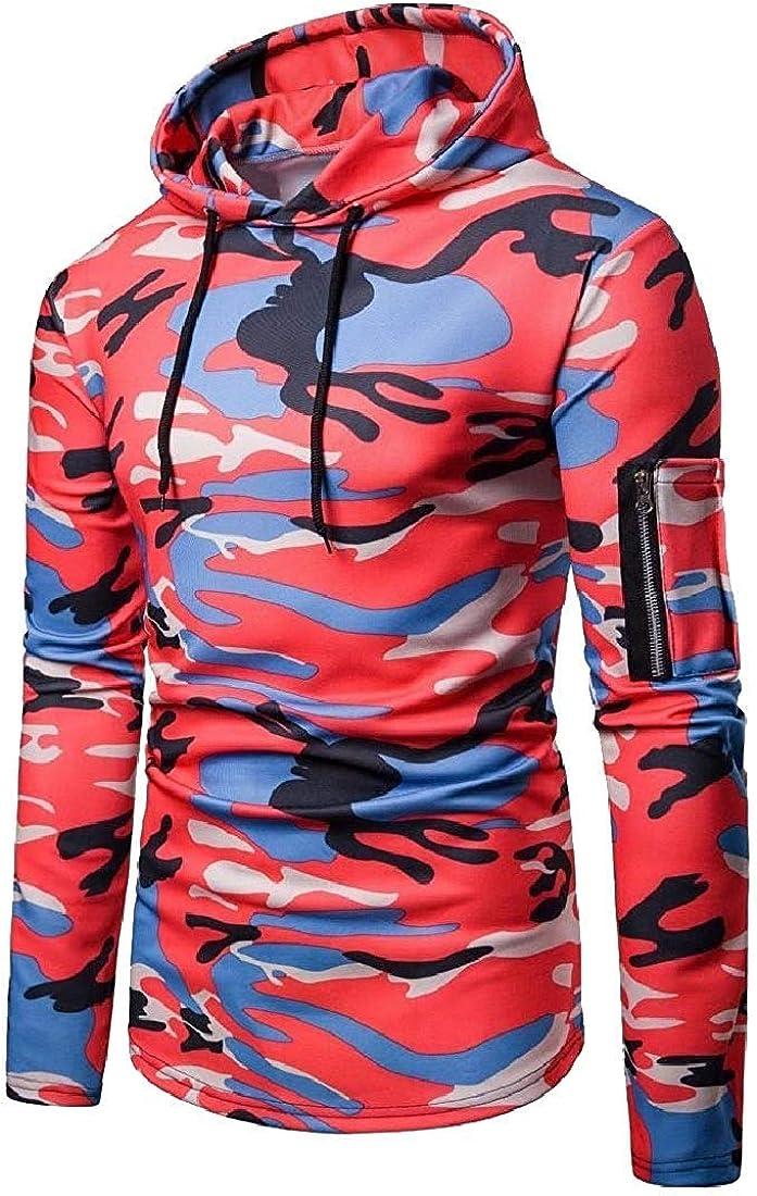 Wndxfhdscd Men Casual Long Sleeve Multicam Hoodie Soft Jacket Sweatshirts