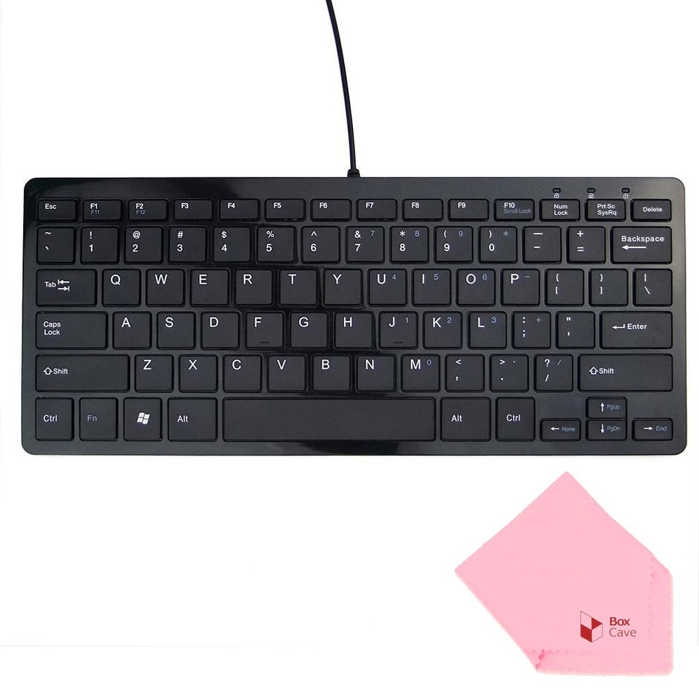 Boxcave 78 Key Wired USB Mini Slim Keyboard for PC, Notebook, Laptop, Netbook, Windows 8 7 XP Vista (Black,w/cable)