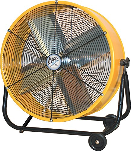 (Maxx Air | Industrial Grade Air Circulator for Garage, Shop, Patio, Barn Use | BF24TFREDUPS 24-Inch High Velocity Drum Fan, Two-Speed, Red)
