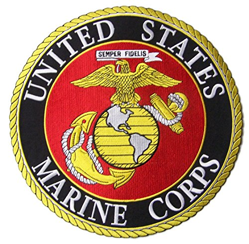 (Jumbo 10 Inch UNITED STATES MARINE CORP USMC biker Patch -Iron on or Sew on Embroidered Jacket Patch)
