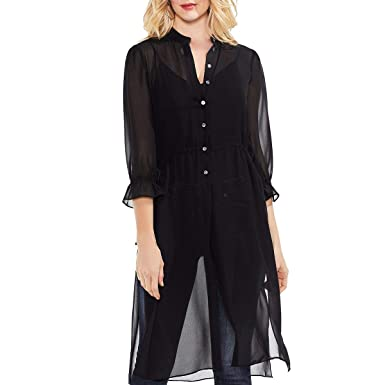 8ee64e75321090 Vince Camuto Womens Chiffon Side Tie Long Tunic Rich Black SM One Size at  Amazon Women's Clothing store: