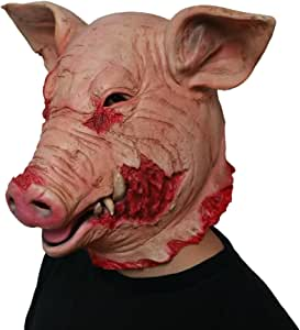 BESTOYARD Halloween Mask Horror Saw Blood Pig Mask Novelty Costume Party Latex Animal Head Scary Mask