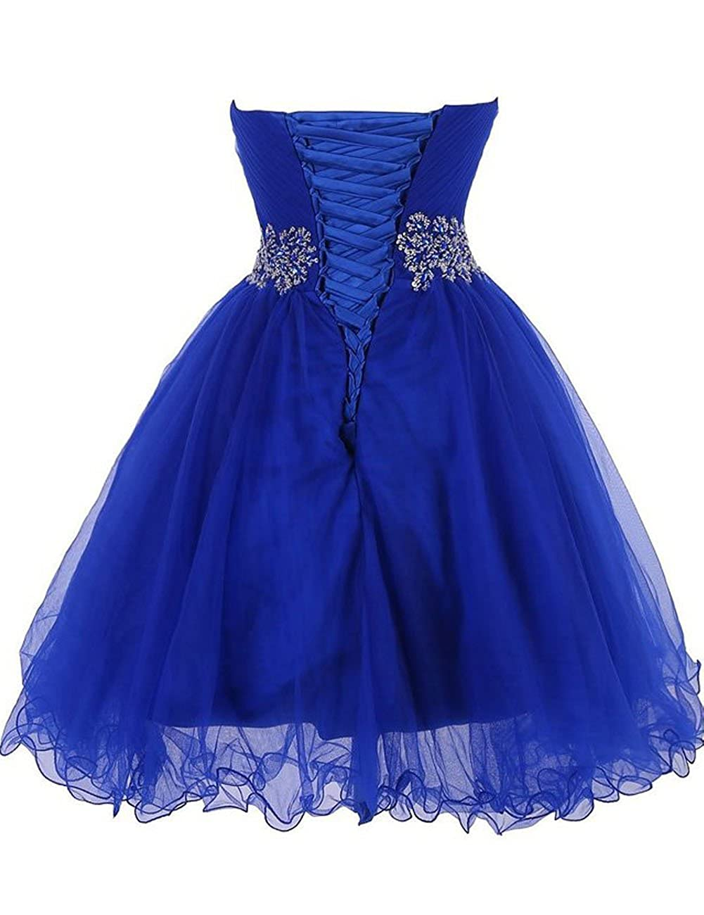 9523e93f80 Amazon.com  Short Tulle Homecoming Dresses Beaded Prom Cocktail Gowns  Sweetheart Junior Party Dress  Clothing