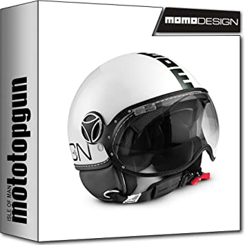 MOMO-DESIGN CASCO MOTO FIGHTER CLASSIC BLANCO POLISH NEGRO S