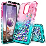 NageBee Case for LG Stylo 5 / Stylo 5X /Stylo 5V / Stylo 5+ Plus with Tempered Glass Screen Protector (Full Coverage) for Girls, Glitter Liquid Sparkle Bling Floating Waterfall Cute Case -Pink/Aqua
