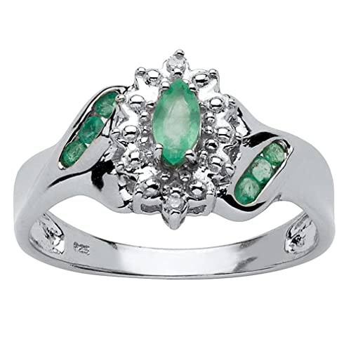 Platinum over Sterling Silver Marquise Cut Genuine Emerald and Diamond Accent Ring
