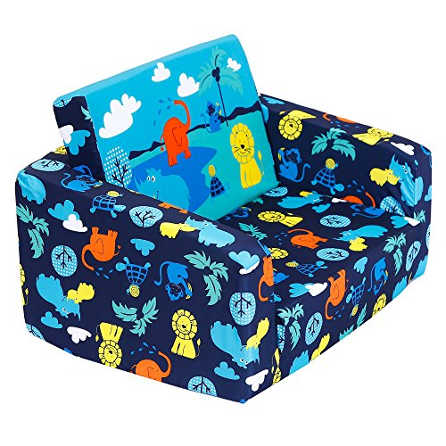 MallBest Kids Sofas Children's Sofa Bed Baby's Upholstered Couch Sleepover Chair Flipout Open Recliner (Blue/Jungle)