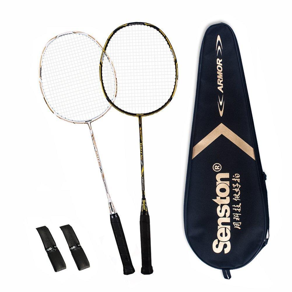 Senston 2 Full Graphite Badminton Racket Set Full Carbon Badminton Racquet(Black+White) with Racket Cover and 2 overgrip