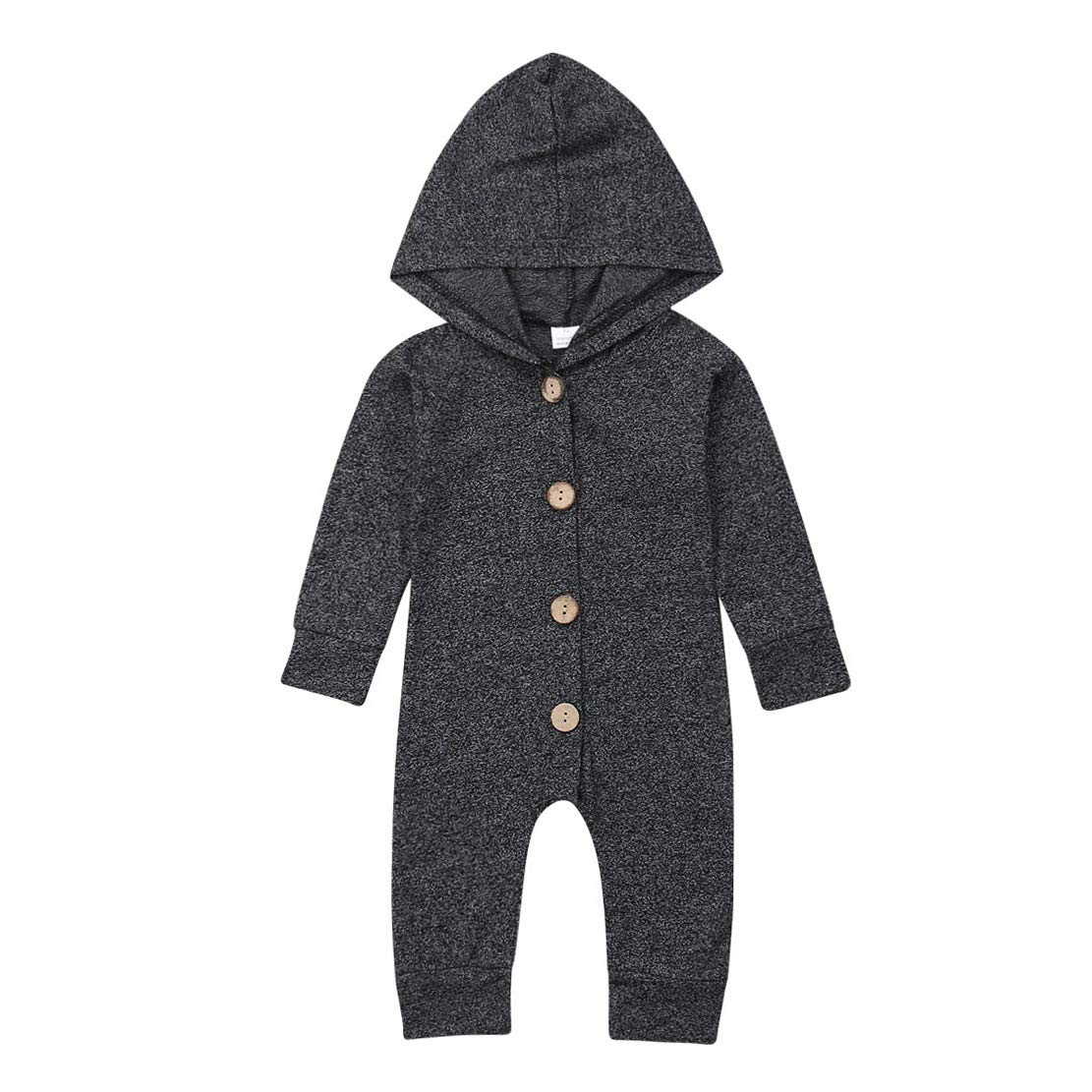 do.Cross Newborn Kids Toddler Baby Boys Cute Solid Color Long Sleeve Hooded Romper Jumpsuit Top Outfits
