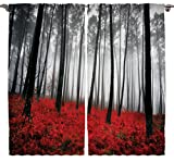 red and gray curtains - Mystic Forest Digital Photography Print Curtains Home Decorations for Bedroom Living Dining Room Kids Youth Room 2 Panels Set Art Prints Nature Window Treatment, 108 X 84 Inches, Red Black Gray
