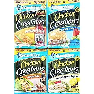 Buffalo Style, Chicken Salad, Ginger Soy, Zesty Lemon Pepper - Starkist Chicken Creations - Variety Bundle Pack of 4, 2.6 Oz Each