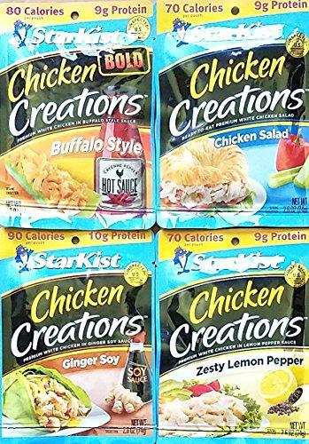 Buffalo Style, Chicken Salad, Ginger Soy, Zesty Lemon Pepper - 2 Each - Starkist Chicken Creations - Variety Bundle Pack of 8, 2.6 Oz Each